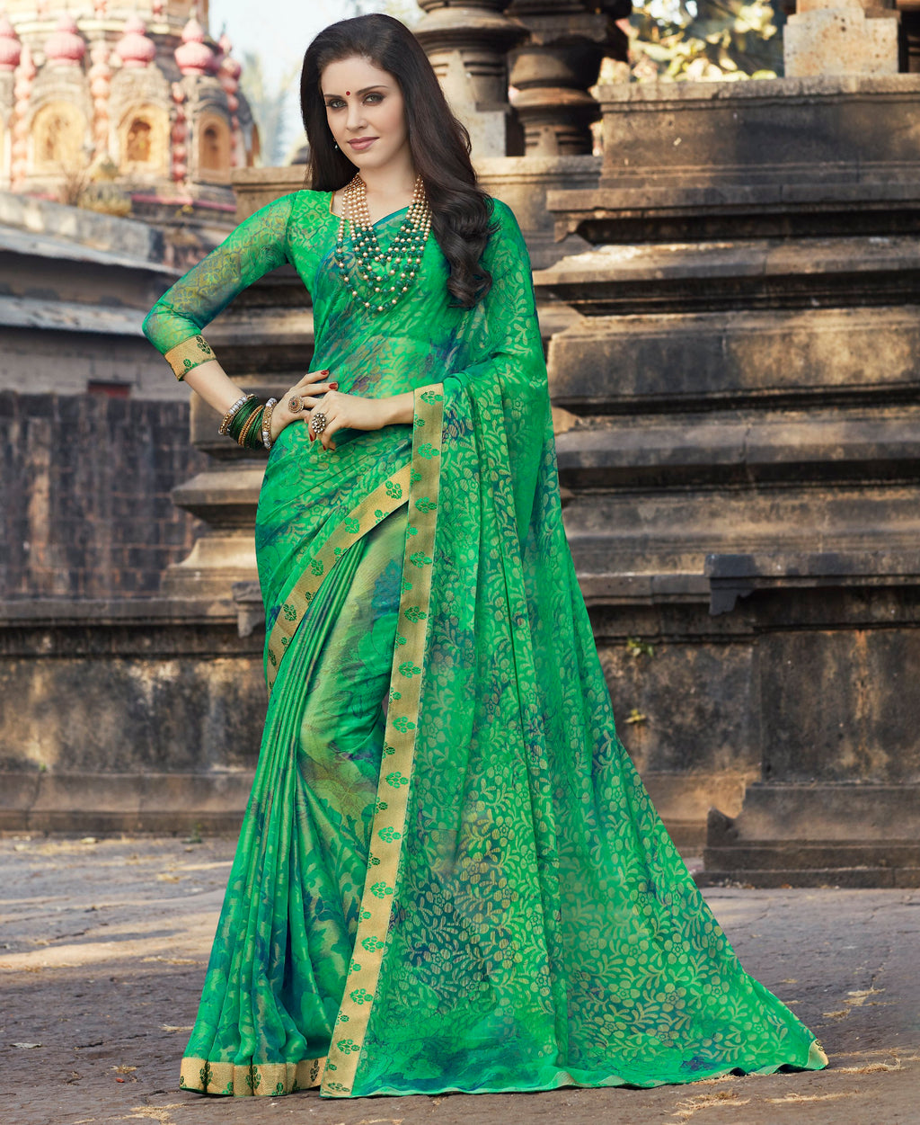 Green Color Brasso Designer Party Wear Sarees  Velika Glamorous2 Catlog SJ-10323