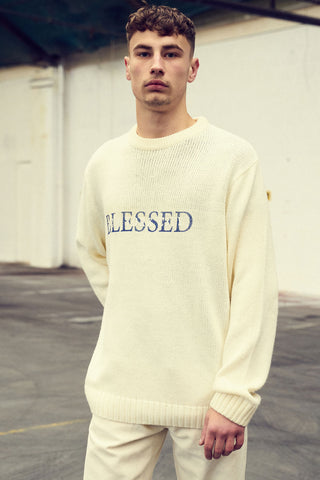 Villains and Vengeance white blessed knitted sweatshirt