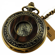Vintage Bronze Style & Wood Pocket Watch