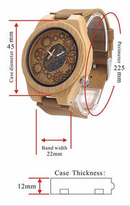 Light Skeleton Wooden Watch (Leather Strap)