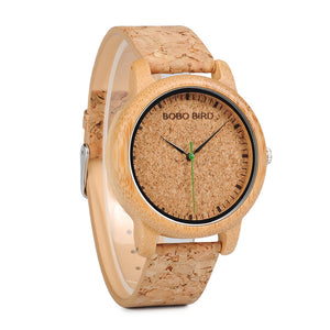Bamboo Wood Watch (Cork Effect Leather Strap)