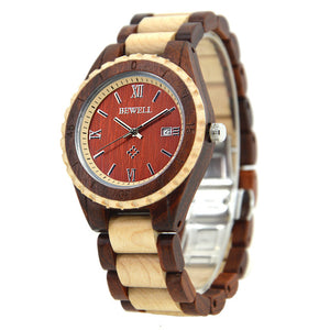 Couples Two Tone Chunk Wood Watch