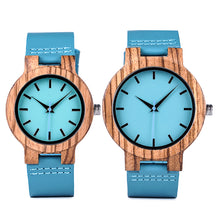 Turquoise Blue Chunk Wooden Watch
