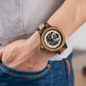 Rustic Chunk Skeleton Wooden Watch