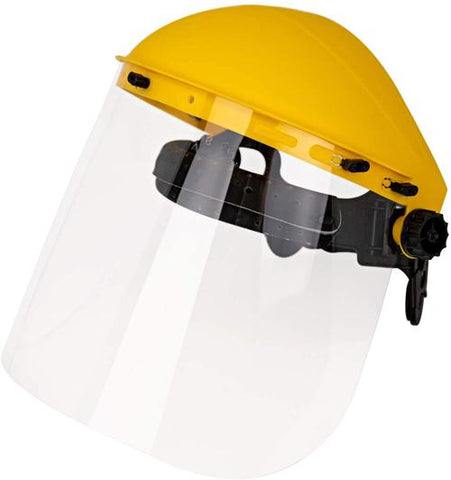 Reusable Face Shield with Ratchet, Full Facial Protection, Lightweight, Yellow