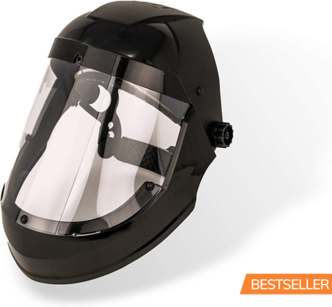 Full Face Protector Face Shield, Reusable, Secure Protection, Black