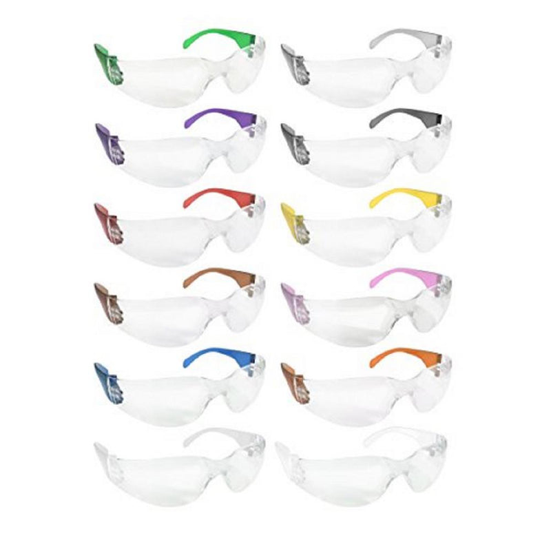 CRYSTAL | Clear Lens Color Temple Variety Safety Glasses | Fits Adult and Youth