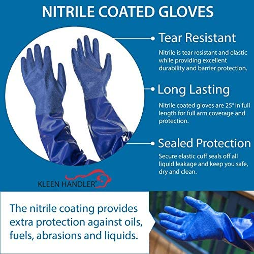 Kleen Mitt Nitrile Gloves | Non-slip Textured Palm Finish, Tear Resistant Long Lasting Protection against Oils, Fuels, Abrasions and Liquids