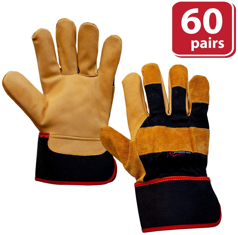 XGrip Camel Leather Gloves | Elastic Band Wrist, Knuckle Protection Work Gloves