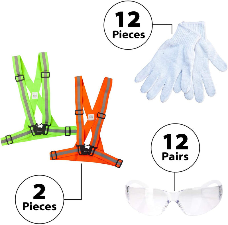 26 Piece Cycling Kit |1 Yellow & 1 Orange Reflective Fluorescent Belt, 12 pc Knit Cotton Gloves, and 12 PAIRS of Clear Safety Glasses