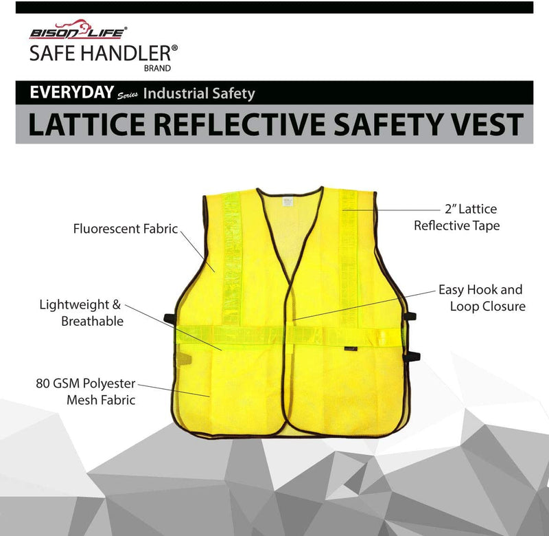 Lattice Reflective Safety Vests | Lightweight and Breathable, Fluorescent Fabric, Hook & Loop Closure, Mesh Fabric, 10 Pack