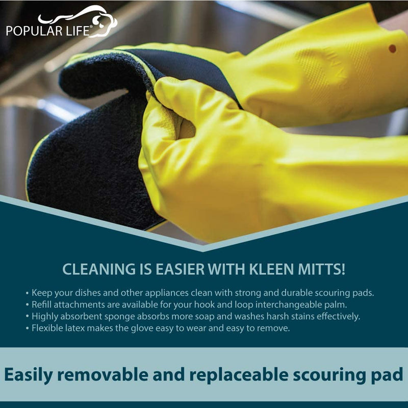 Kleen Mitt White, Black and Green Mitt Refill  | Changeable Heavy Grade Scouring Pad | One Size Fits Most