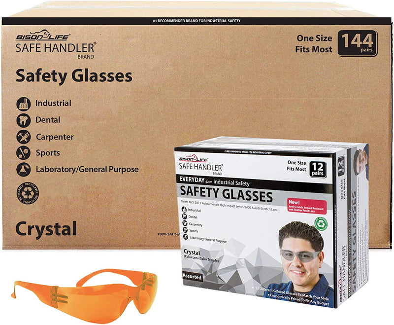 CRYSTAL | Full Color Orange Safety Glasses | Fits Adult and Youth