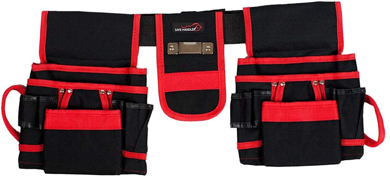 Professional 12 Pocket Tool Pouch with Belt | Spacious Tool Pockets, 2 Hammer Loops, Metal Measuring Tape Holder and Adjustable Belt