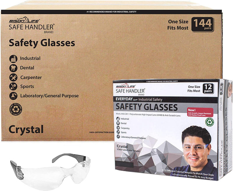 CRYSTAL | Clear Lens Color Temple Black Safety Glasses | Fits Adult and Youth