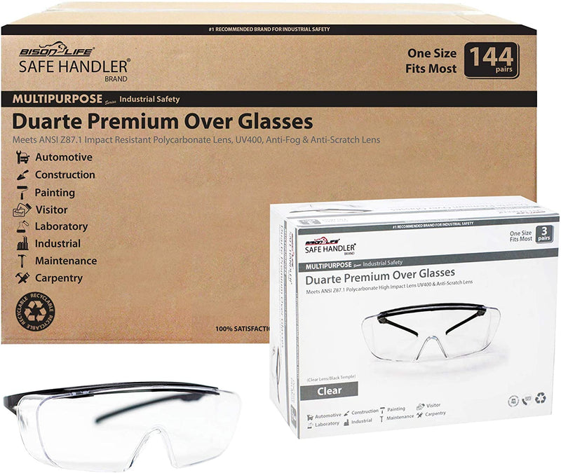 DUARTE | Premium Clear Lens Black Temple Safety Glasses, Anti-Fog & Anti-Scratch | Fits Adult and Youth
