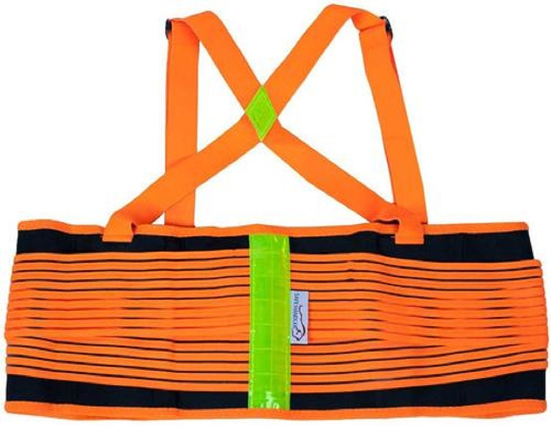 Lifting Support Weight Belt - Orange & Black Reflective| Lower Back Brace Protects & Relieves Back Pain, Stable Support Belt with Dual Adjustable Straps