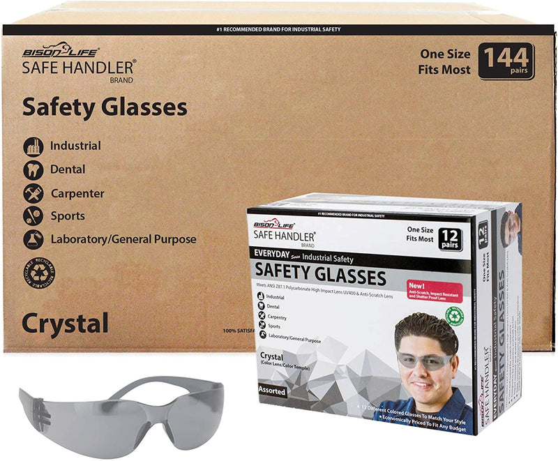 CRYSTAL | Full Color Grey Safety Glasses | Fits Adult and Youth