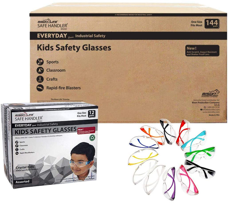 CRYSTAL | Kids Protective Safety Glasses, Clear Lens Color Temple Variety | Fits Youth and Kids