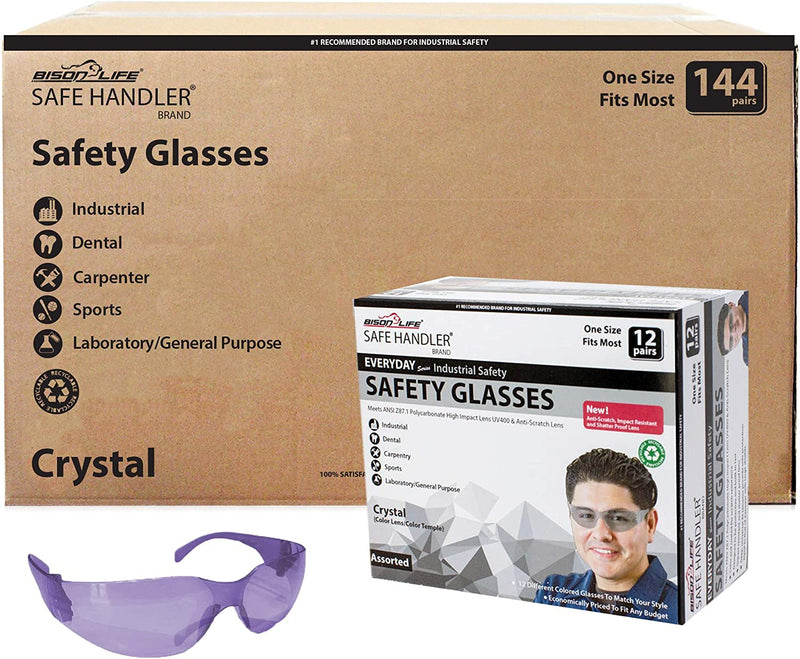 CRYSTAL | Full Color Purple Safety Glasses | Fits Adult and Youth