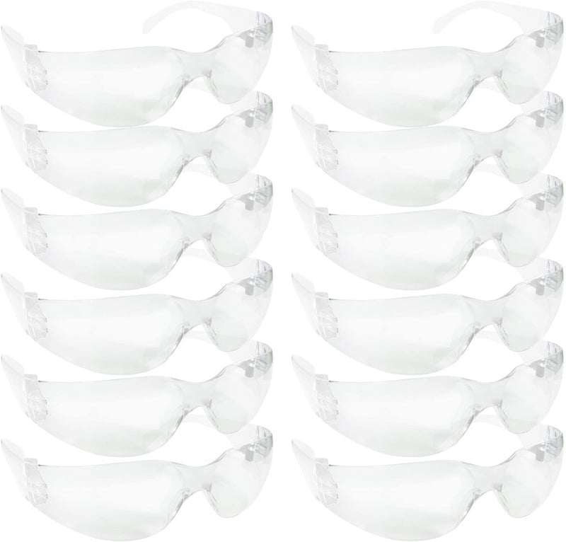 CRYSTAL | Clear Lens Color Temple White Safety Glasses | Fits Adult and Youth