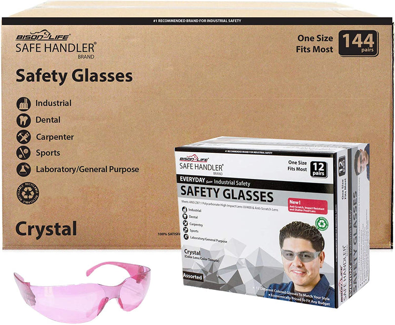 CRYSTAL | Full Color Pink Safety Glasses | Fits Adult and Youth
