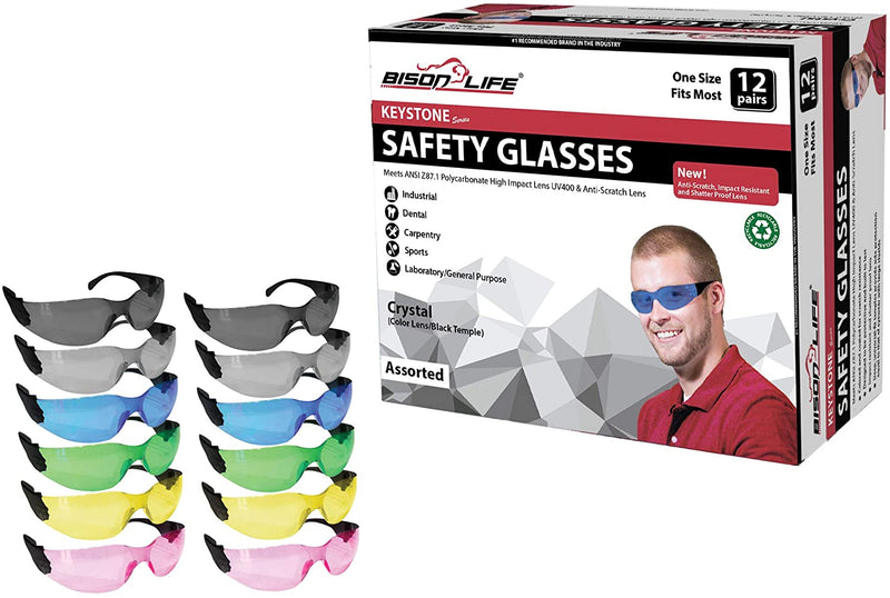 KEYSTONE | Color Lens Black Temple Variety Safety Glasses | Fits Adult and Youth