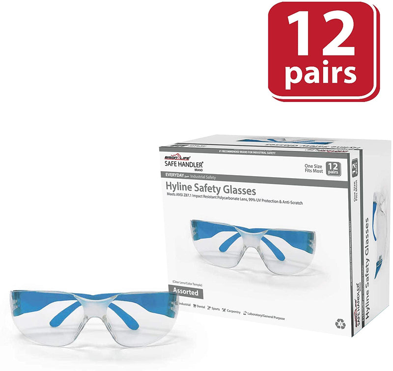 HYLINE | Clear Lens Color Temple, Variety Safety Glasses | Fits Adult and Youth