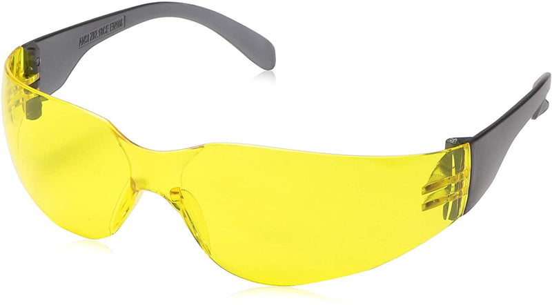 CRYSTAL | Color Lens Black Temple Yellow Safety Glasses | Fits Adult and Youth