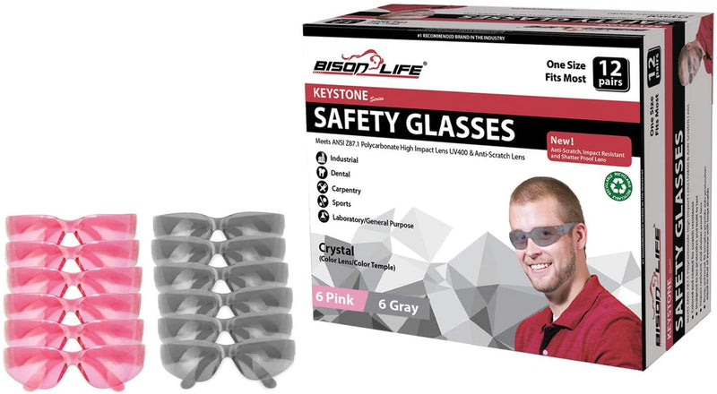KEYSTONE | Full Color Pink and Grey Safety Glasses | Fits Adult and Youth