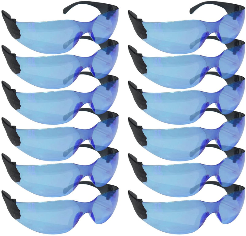 CRYSTAL | Color Lens Black Temple  Blue Safety Glasses | Fits Adult and Youth