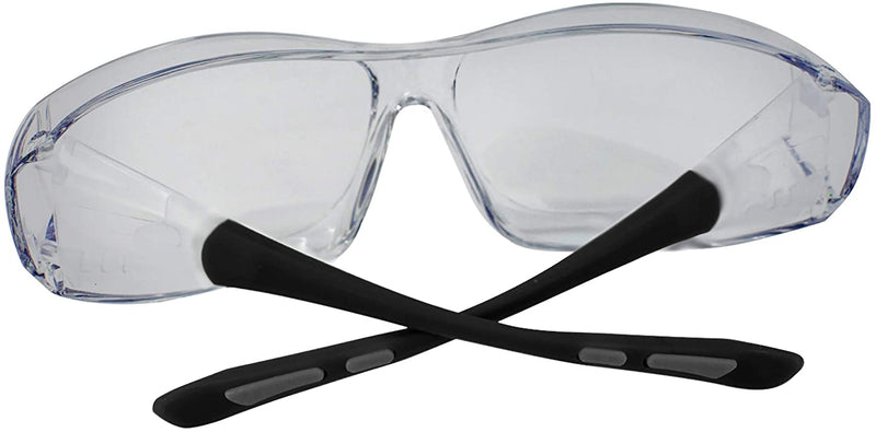 PrimeX Safety Glasses – Gray and Black, Anti-Scratch Anti Fog Wrap Around Lenses, Adjustable temples, Built-in Side Shields, UV Protection, ANSI Z87