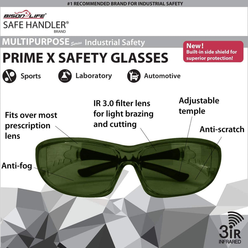 PrimeX IR3 Safety Glasses – IR3, Green, Anti-Scratch Anti Fog Wrap Around Lenses, Frameless, Adjustable temples, Built-in Side Shields, UV Protection, ANSI Z87, IR Shade Filter 3.0