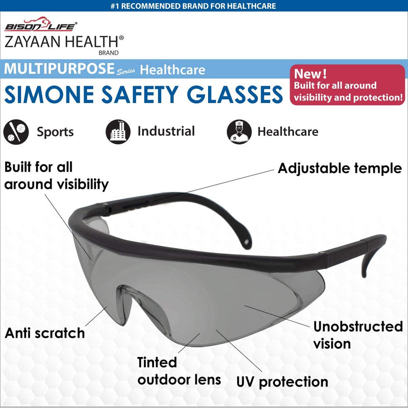 Simone Safety Glasses – Color Lens and Black Temple, Anti-Scratch Anti Fog Wrap Around Lenses, Adjustable temples, Built-in Side Shields, OTG, UV Protection, ANSI Z87, Pack of 1