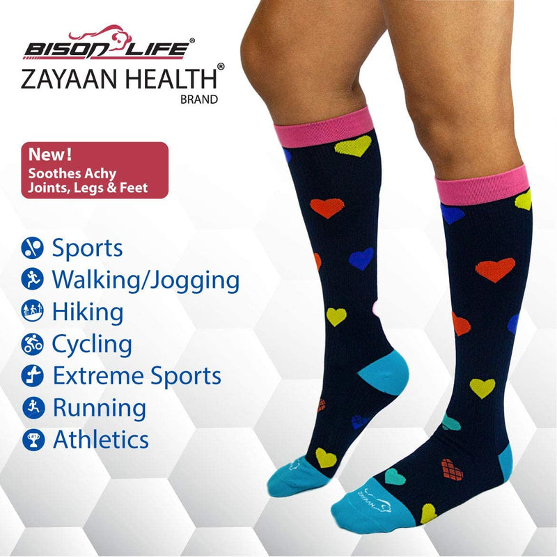 Heart Multi Color Compression Socks | Fits Adult and Youth
