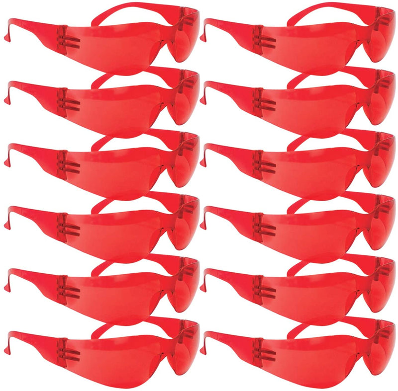 CRYSTAL | Full Color Red Safety Glasses | Fits Adult and Youth