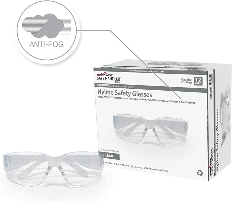HYLINE | Clear Lens Clear Temple Safety Glasses | Anti Fog and  Anti Scratch, Impact Resistant, | Fits Adult and Youth