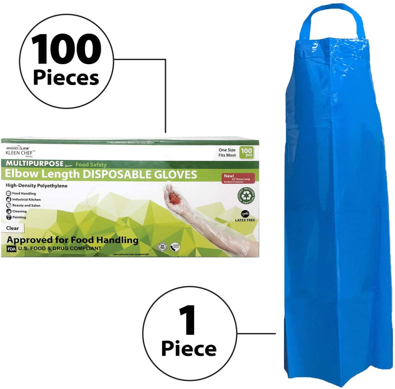 101 Piece Dishwashing Kit | 1 Reusable 7.8 MIL Water Resistant TPU Blue Bib Apron and a BOX of 100 Pcs Elbow Length Gloves