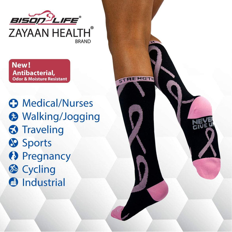 Ribbon Black, Pink and White Compression Socks | Fits Adult and Youth