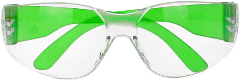 CRYSTAL | Clear Lens Color Temple Green Safety Glasses | Fits Adult and Youth