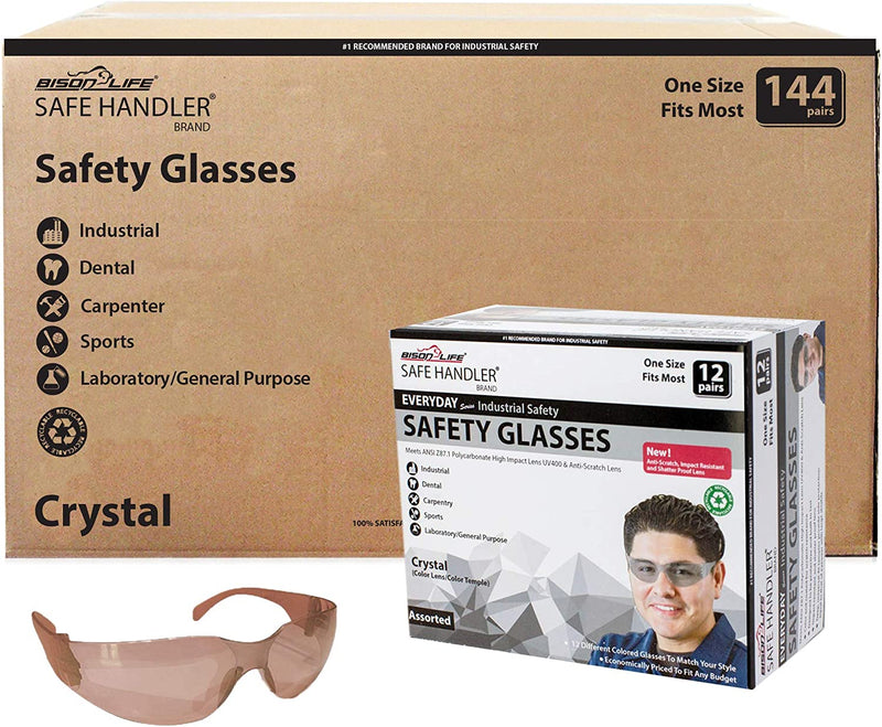 CRYSTAL | Full Color Brown Safety Glasses | Fits Adult and Youth