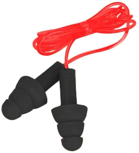 CovertX Ear Plugs | Noise Reducing Ear Plug, Corded, Black with Red Cord