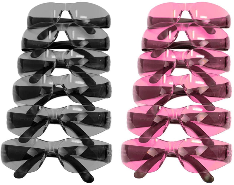 KEYSTONE | Color Lens Black Temple Pink and Grey Safety Glasses | Fits Adult and Youth