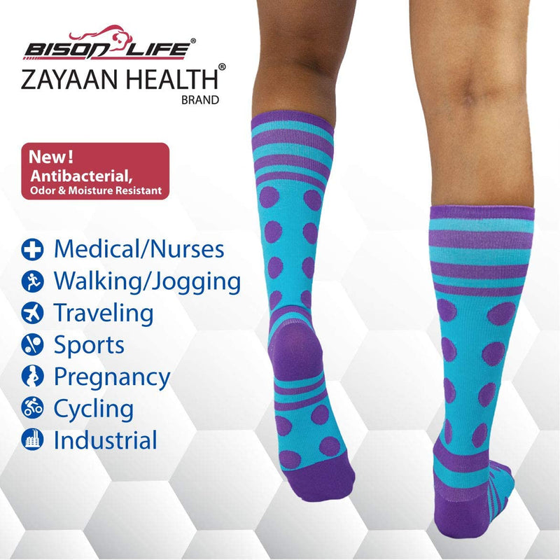 Dots Stripe Green, Blue and Pink Compression Socks | Fits Adult and Youth