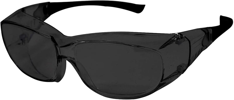 PrimeX IR5 Safety Glasses – IR5, Black Dark Green, Anti-Scratch Anti Fog Wrap Around Lens, Frameless, Adjustable, Built-in Side Shields, UV Protection, ANSI Z87, IR Shade Filter 5.0
