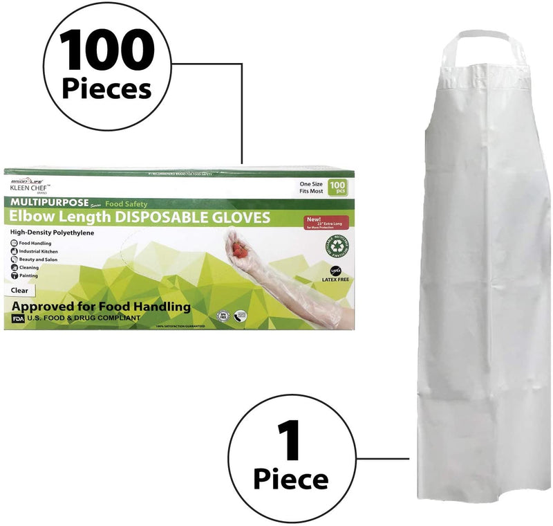 101 Piece Dishwashing Kit | 1 Reusable 7.8 MIL Water Resistant TPU White Bib Apron and a BOX of 100 Pcs Elbow Length Gloves