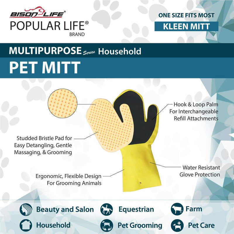 Kleen Mitt Pet | Studded Bristle Pad for Massage | One Size Fits Most
