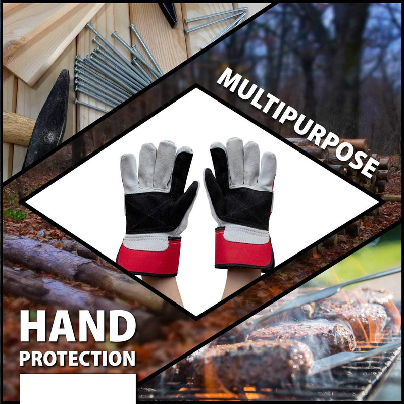 Supreme Rigger Gloves | Reinforced Palm, Split Grade, A Leather, Cotton Lining, Wide Safety Cuff, For Men and Women