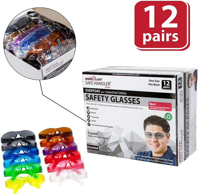 CRYSTAL | Full Color Variety Safety Glasses | Fits Adult and Youth