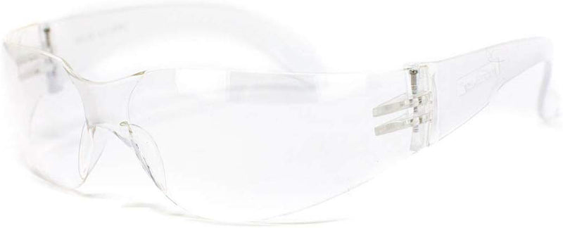 CRYSTAL | Clear Lens Clear Temple Safety Glasses | Fits Adult and Youth